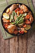 Korean food jjimdak: Stewed chicken with vegetables. vertical