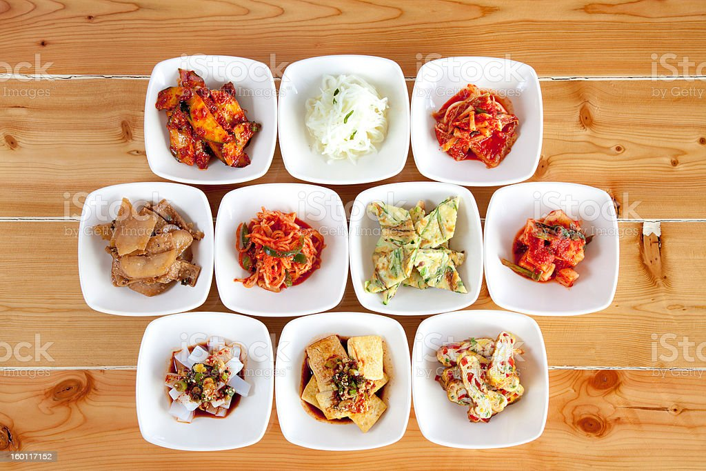 Korean food side dishes stock photo