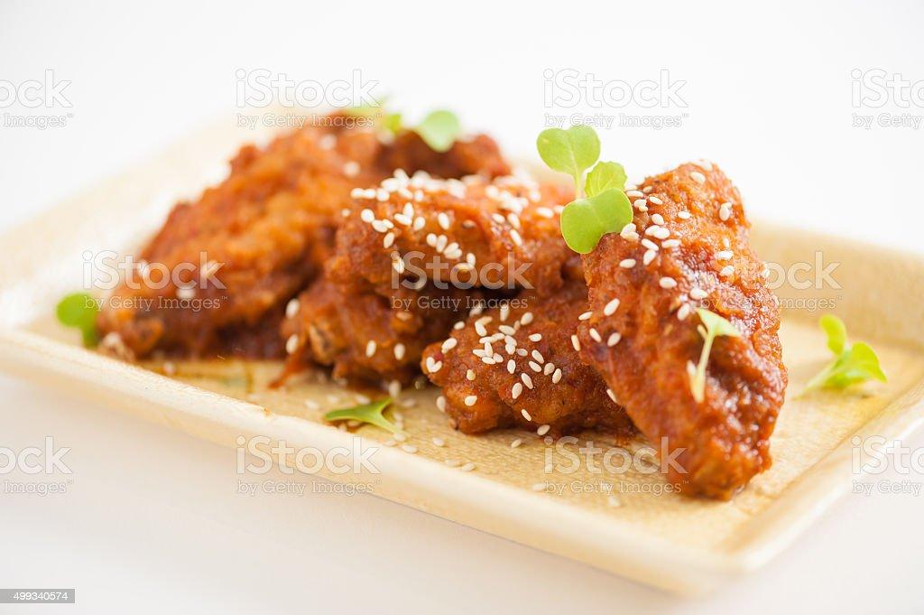 Korean fried chicken stock photo