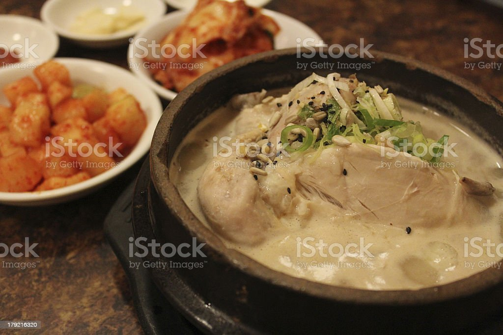 korean ginseng chicken soup royalty-free stock photo