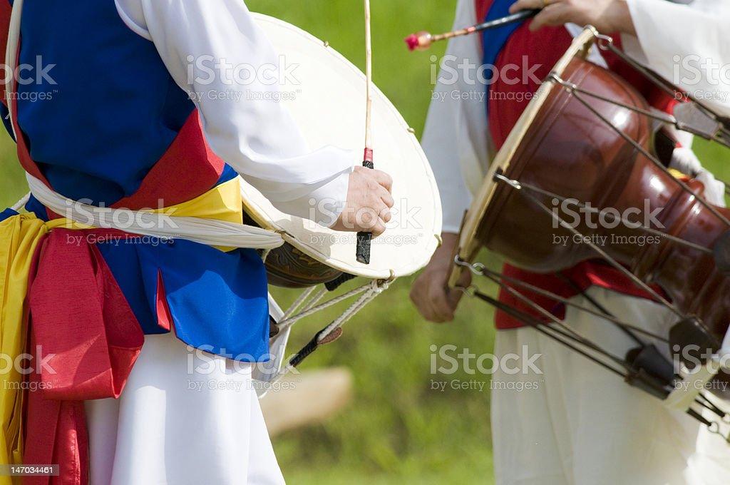 Korean 'Janngu' Drummers royalty-free stock photo