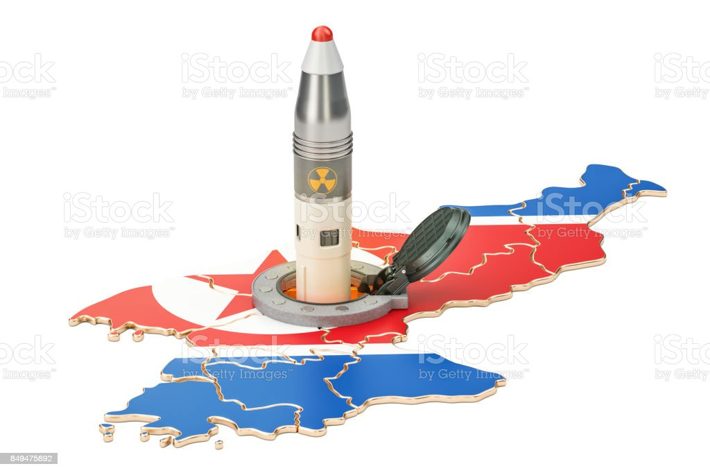 Korean missile launches from its underground silo launch facility, 3D rendering stock photo