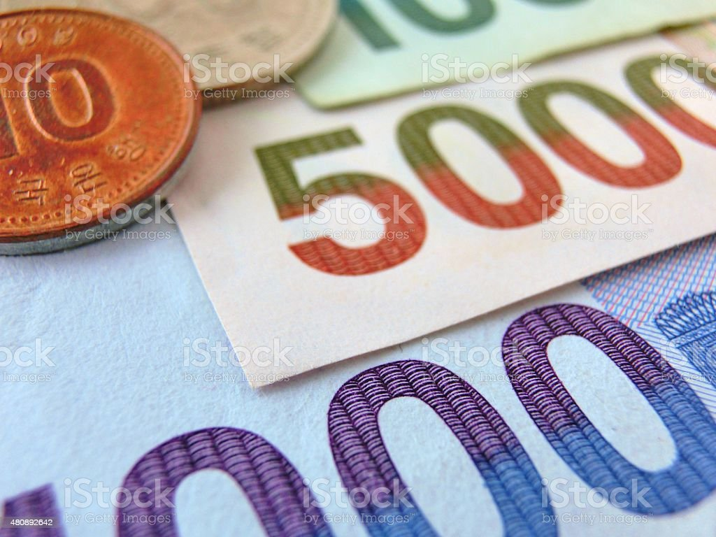 Monnaie coréenne photo libre de droits