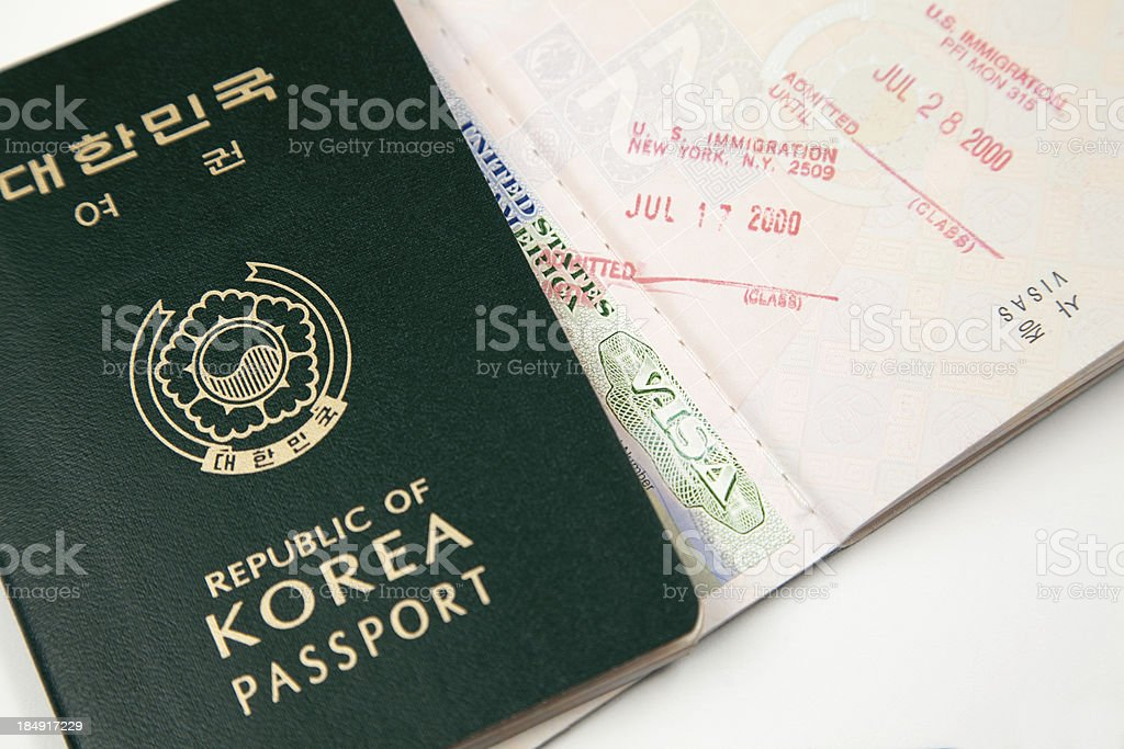 Korean passport with US entry visa stamp royalty-free stock photo