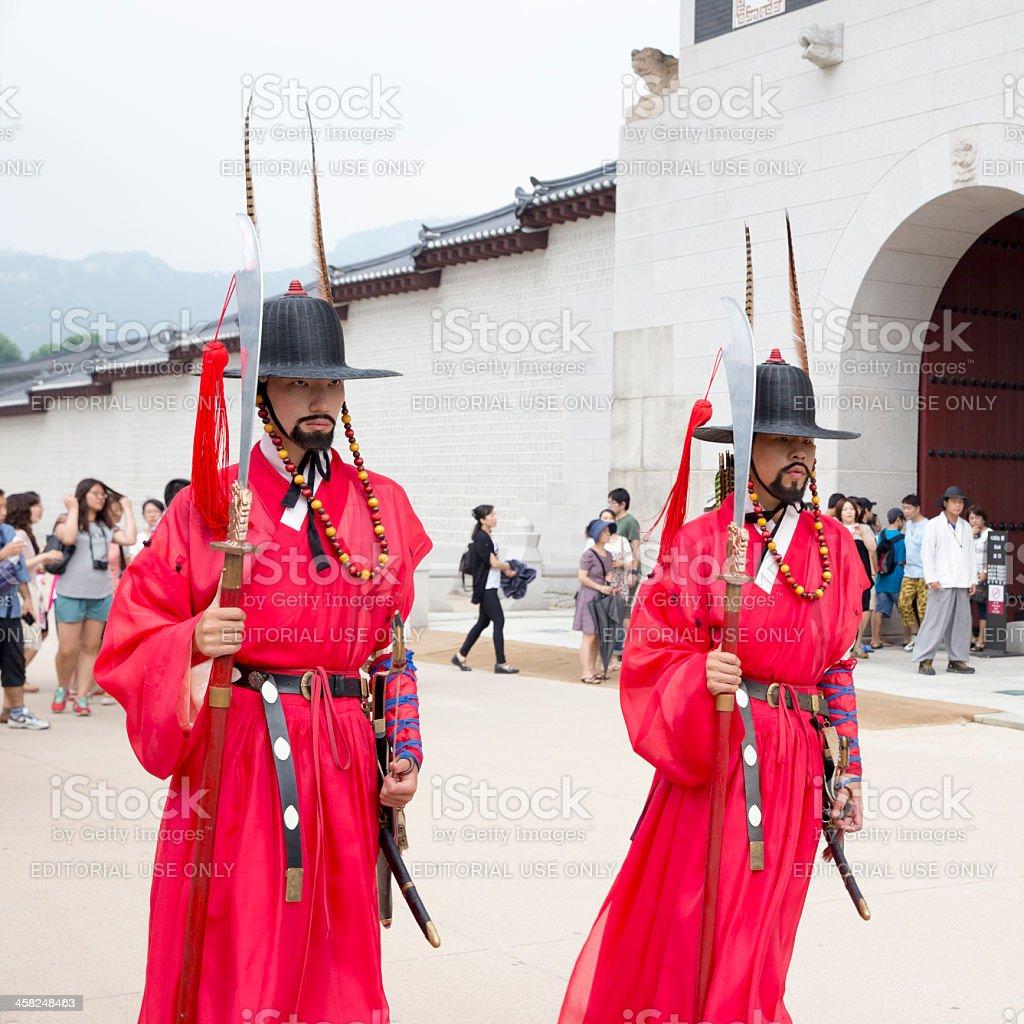 Korean Royal Guards at Gwanghwamun royalty-free stock photo