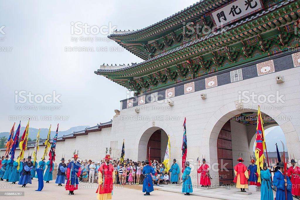 Korean Royal Guards at Gwanghwamun stock photo