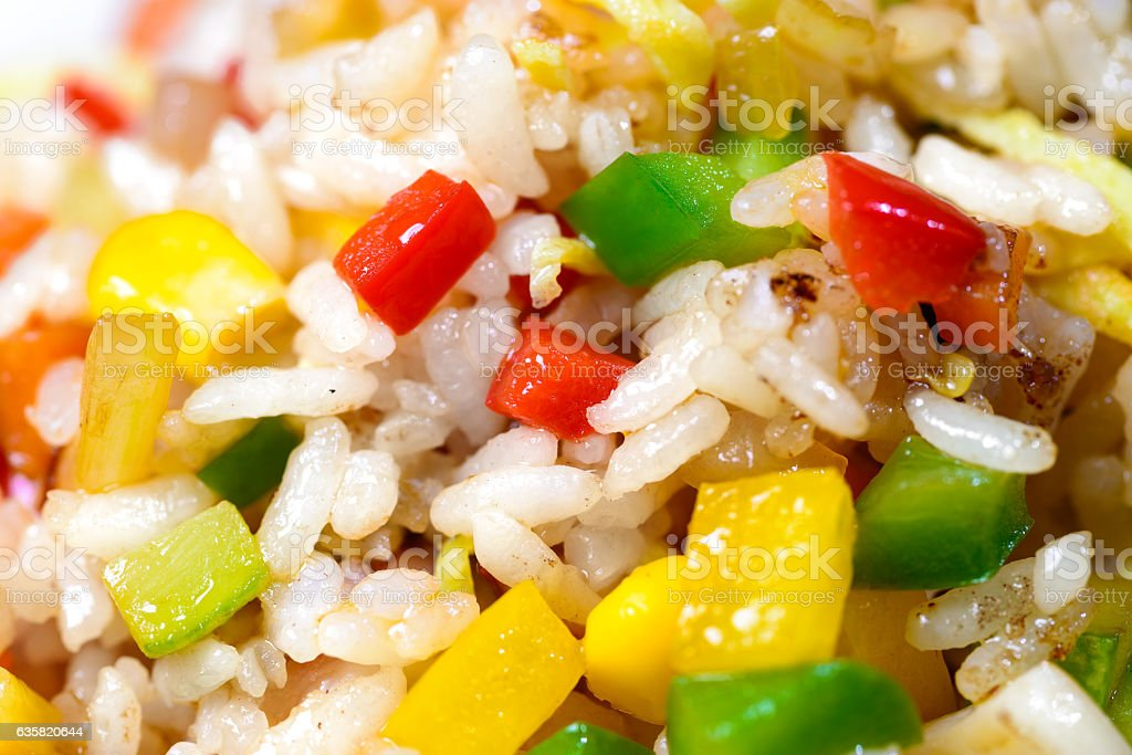 Korean salad with corn and pepper stock photo