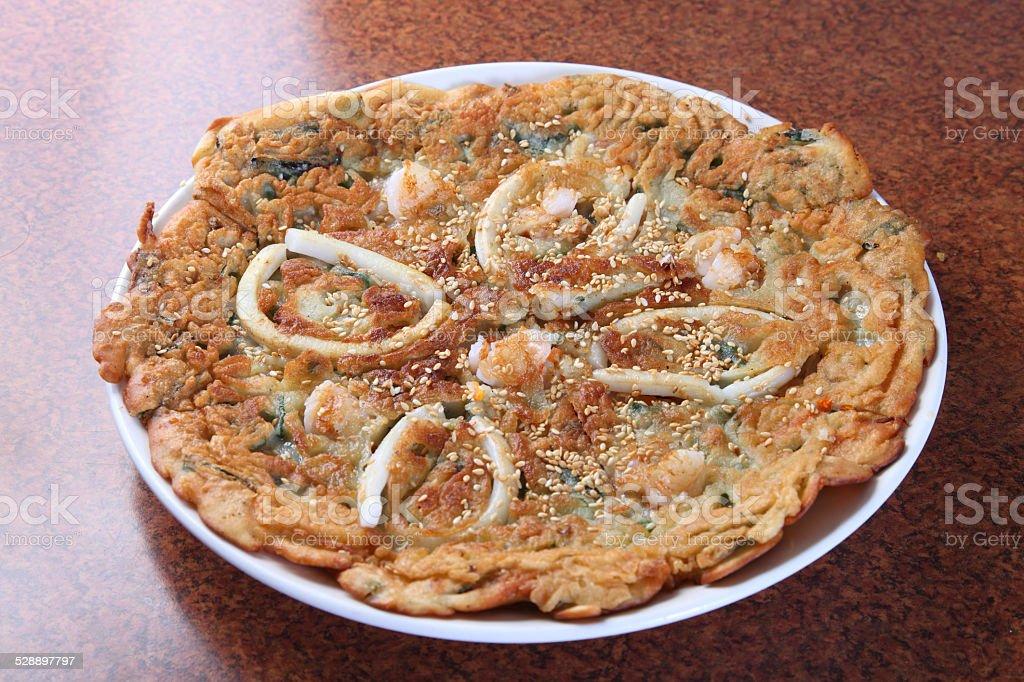 Korean Seafood pancake stock photo