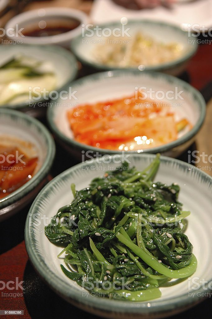 Korean side dishes royalty-free stock photo