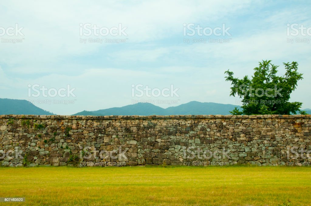 Korean stone wall stock photo