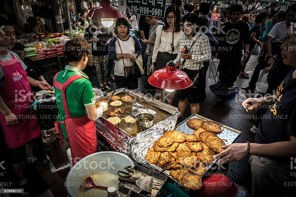 Korean street food market stock photo