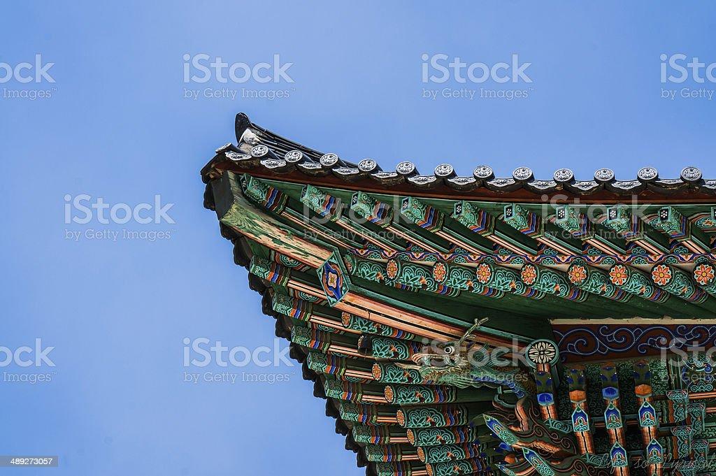 Korean temple roof stock photo