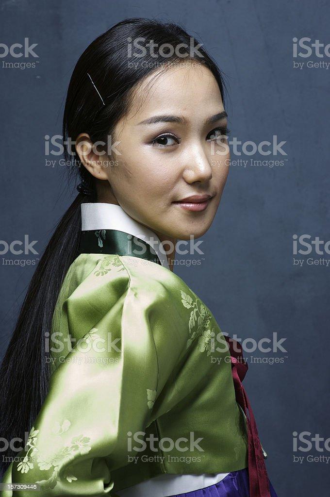 Korean traditional dress - studio portrait royalty-free stock photo