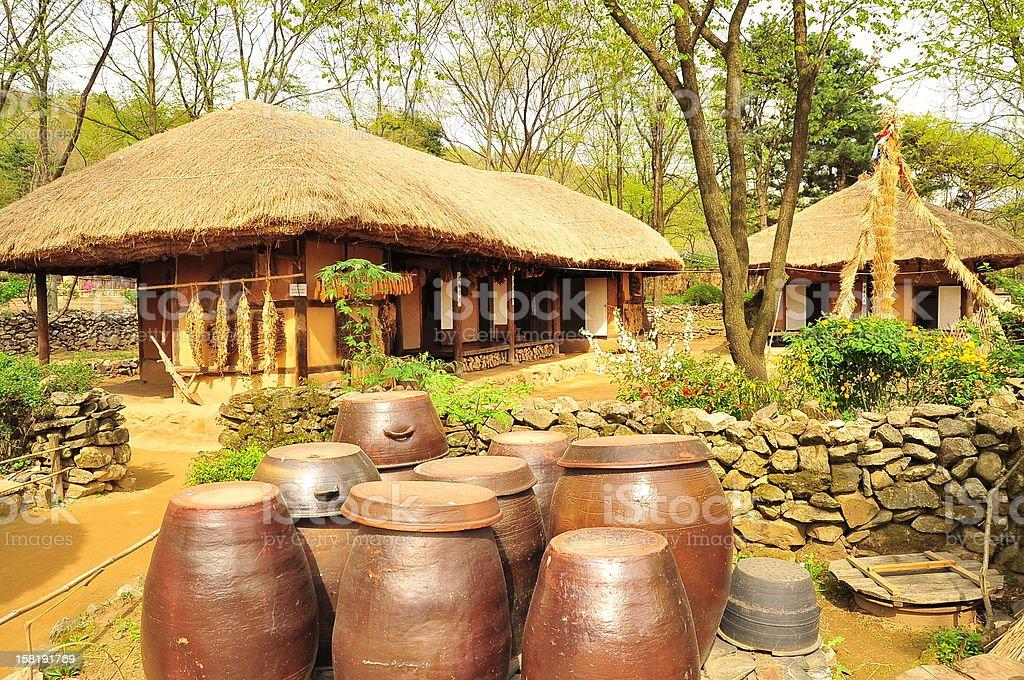 Korean traditional village house stock photo