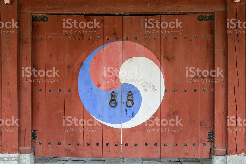Korean traditional yin yang gate stock photo
