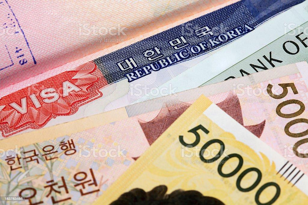 Korean visa and currency royalty-free stock photo