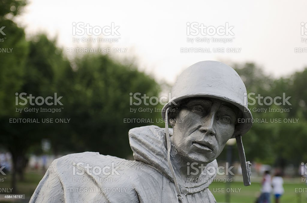 Korean War Memorial soldiers in a Washington DC park royalty-free stock photo
