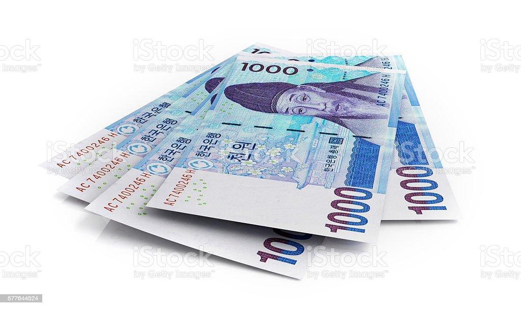 Korean won banknotes stock photo