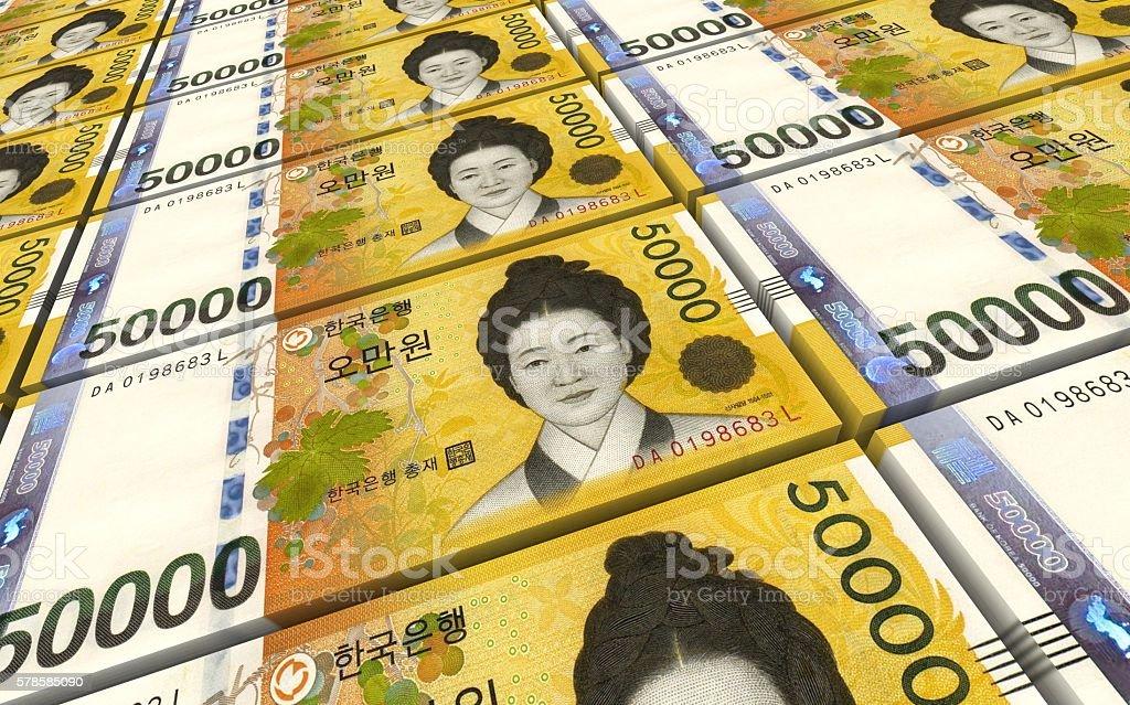 Korean won bills stacks background. stock photo