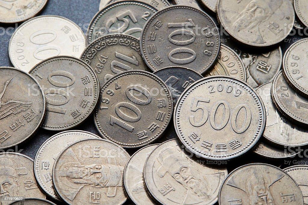 Korean won coins stock photo