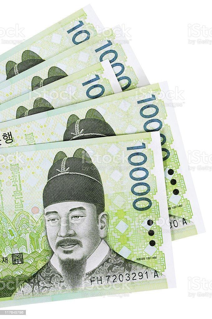 Korean Won currency bills stock photo