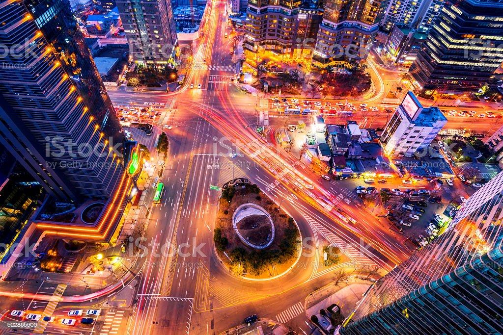 Korea,Night traffic speeds through an intersection in Seoul,Kore stock photo