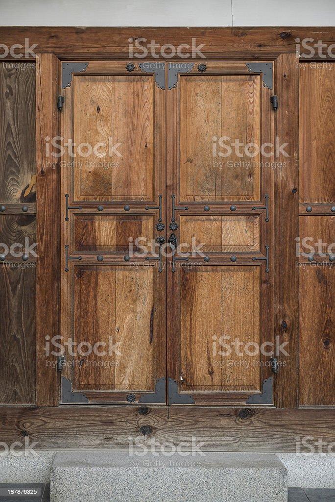 Korea's traditional Wooden Door stock photo