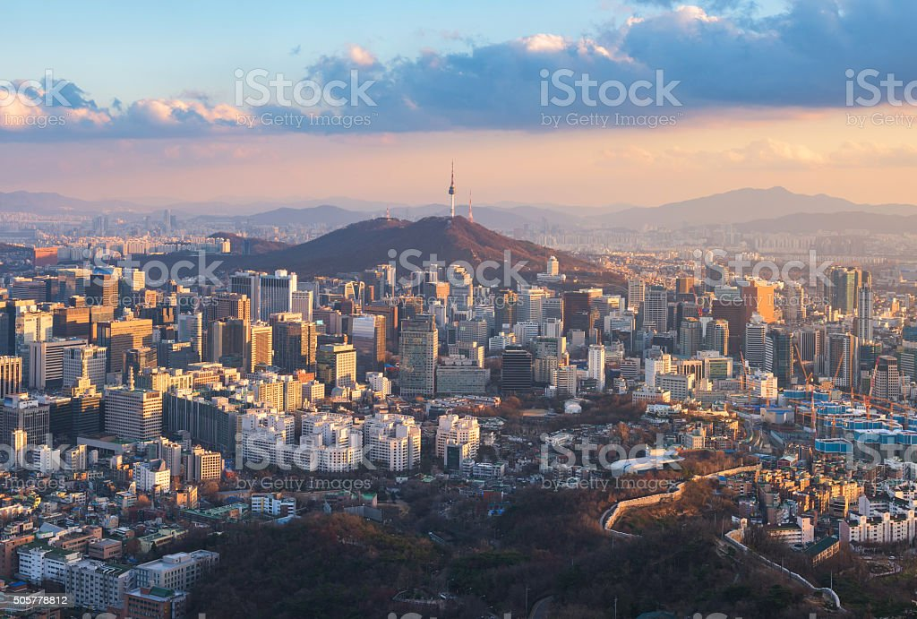 Korea,Sunset of Seoul City Skyline. stock photo