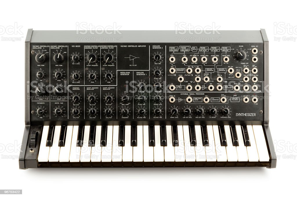 A Korg MS20 retro analog synthesizer on a blank background stock photo