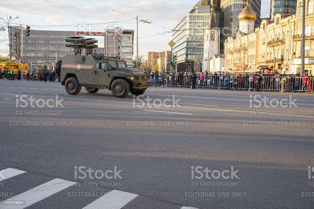 Kornet-D1 BM-2 (TOS-2) rocket artillery and people on roadside stock photo