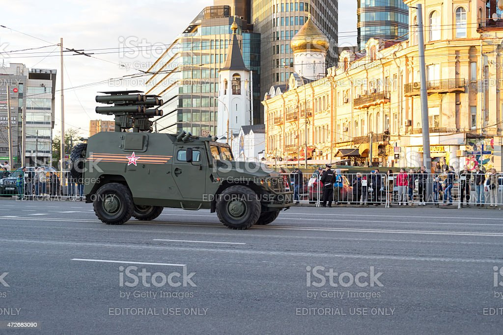 Kornet-D1 BM-2 (TOS-2) short range rocket artillery moves on street stock photo