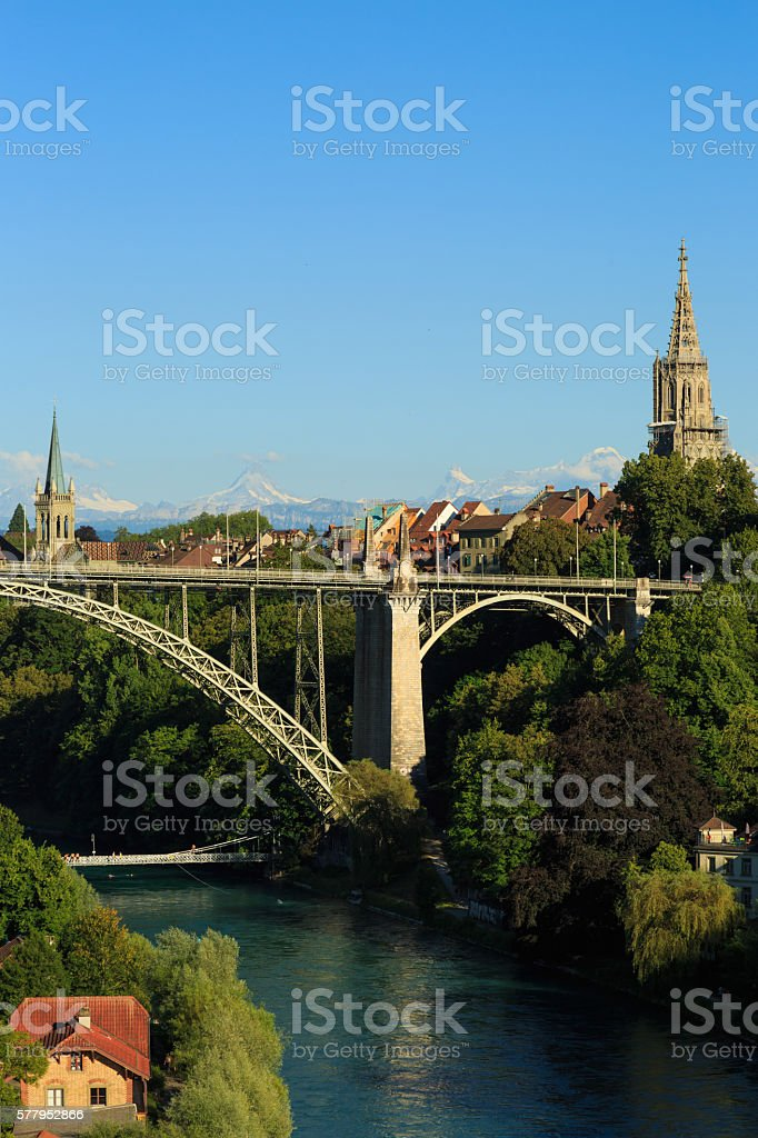 Kornhaus Bridge in Bern stock photo