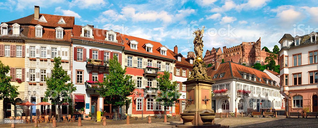 'Kornmarkt' Square in Heidelberg, Germany stock photo