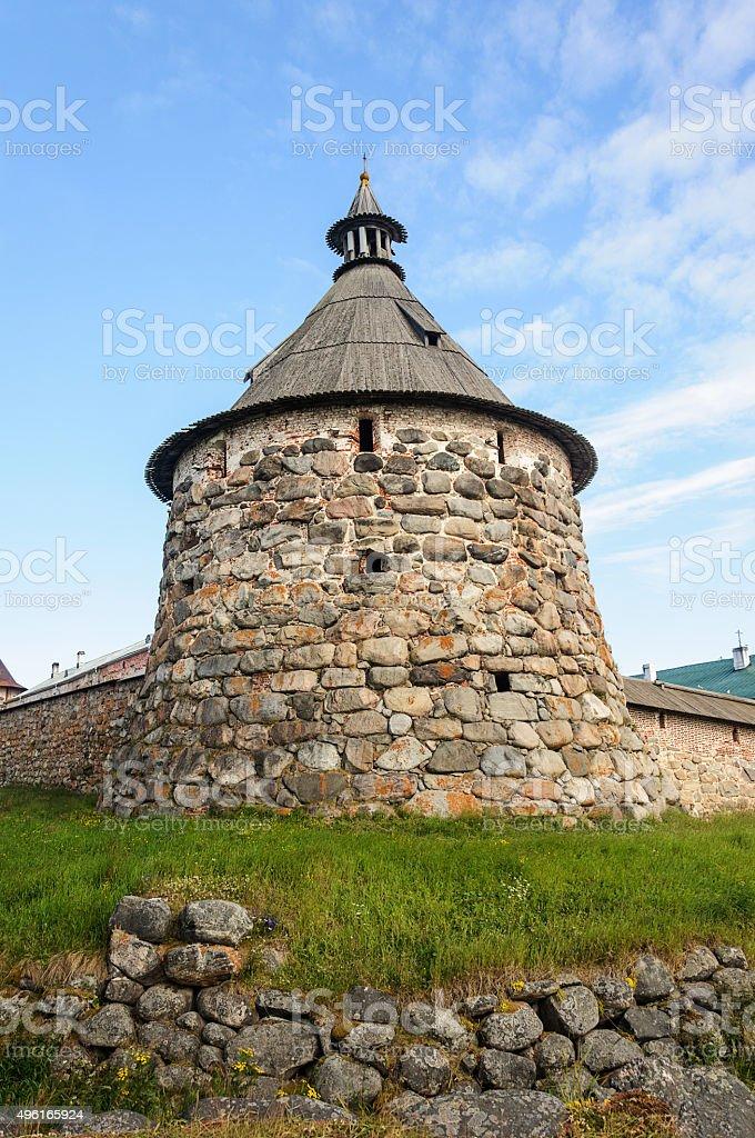 Korozhnaya tower Solovetsky Monastery stock photo