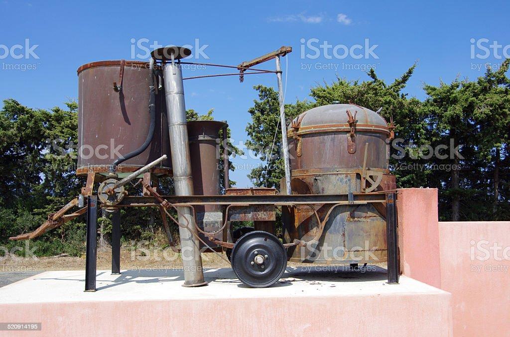 Korsika Wein Distilling Machine stock photo
