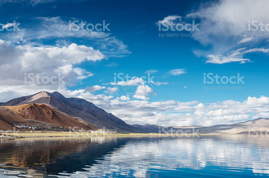 Korzok village on the Tso Moriri Lake in Ladakh stock photo