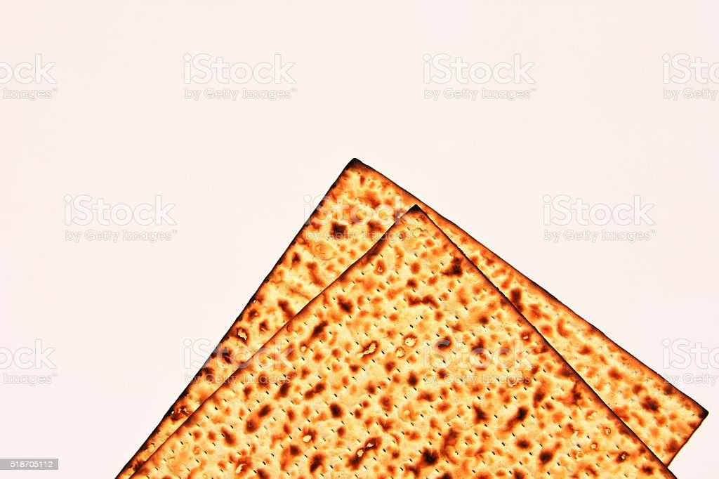 Kosher matzo bread for Passover stock photo