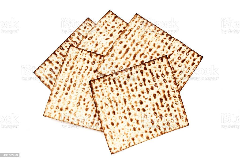 Kosher matzos bread for Passover stock photo