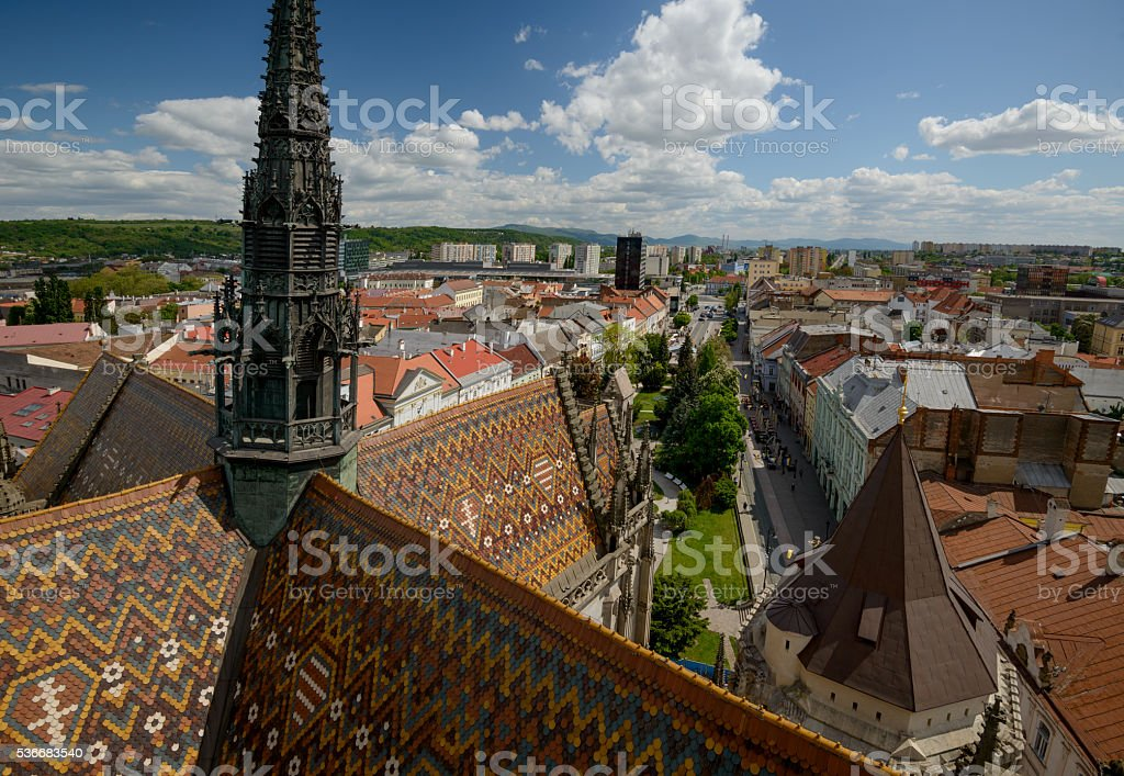 Kosice Cathedral and citiscape top view stock photo