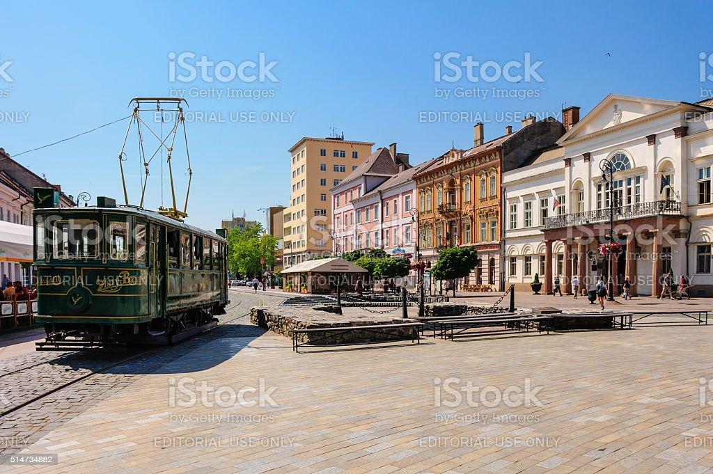 Kosice street car tram stock photo