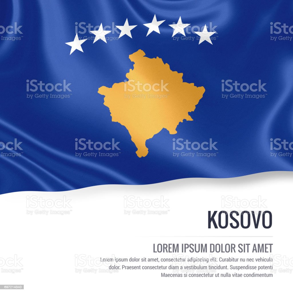 Kosovo flag. Silky flag of Kosovo waving on an isolated white background with the white text area for your advert message. 3D rendering. stock photo