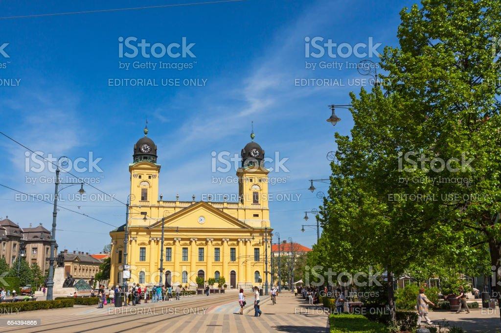 Kossuth square in Debrecen city, Hungary stock photo