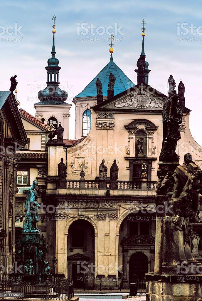 Kostel of of St. Salvator and Klementinum in Pragie stock photo