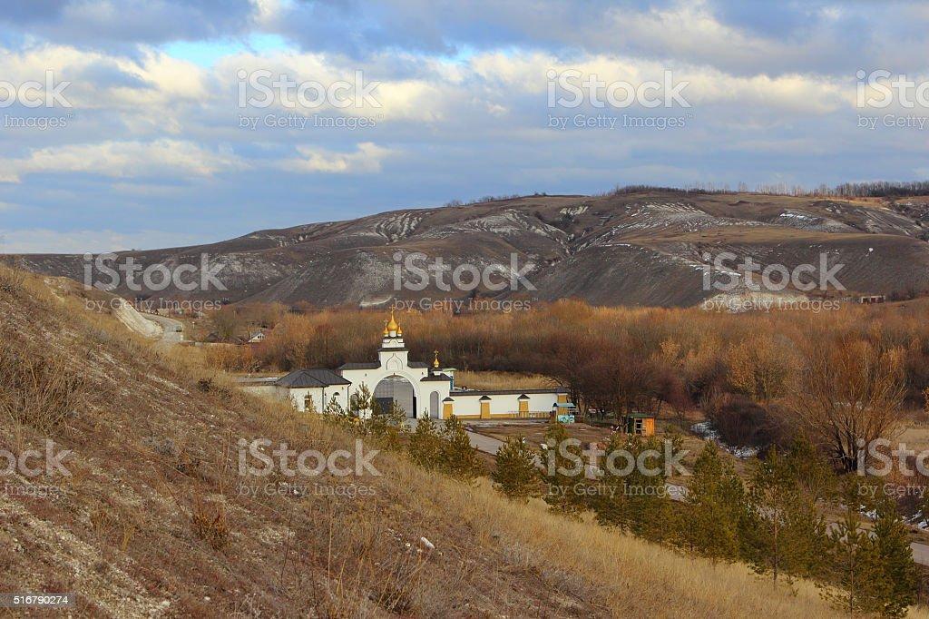 Kostomarovsky female Spassky gate of the diocesan monastery. View from the monastery. stock photo