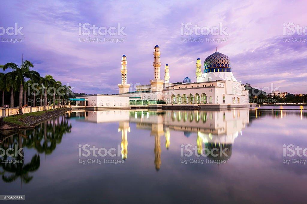 Kota Kinabalu City Mosque at Sunset in Sabah, Borneo, Malaysia stock photo