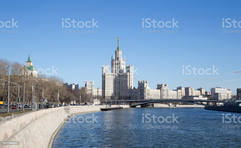 Kotelnicheskaya Embankment Building, Moscow, Russia-- is one of seven stalinist skyscrapers laid down in September, 1947 and completed in 1952. stock photo