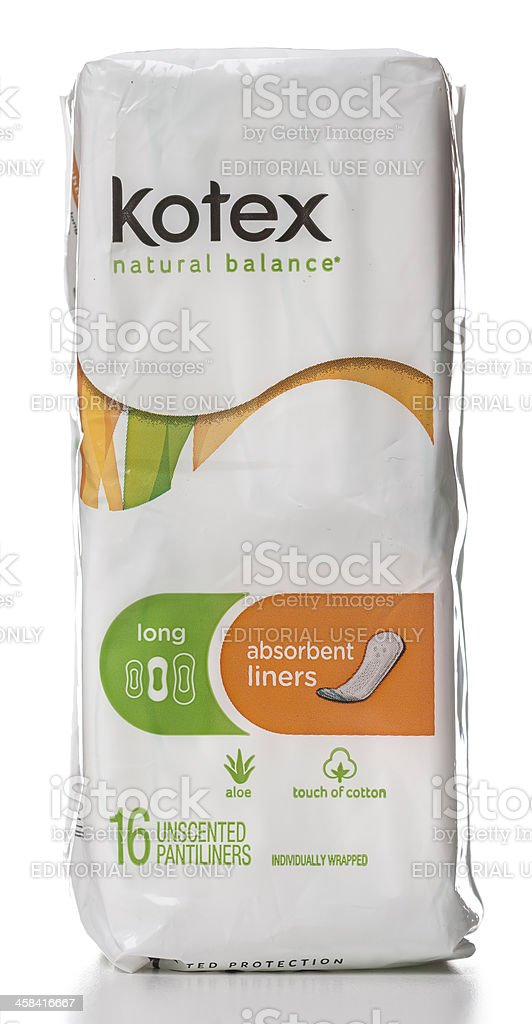 Kotex long absorbent unscented pantiliners package stock photo