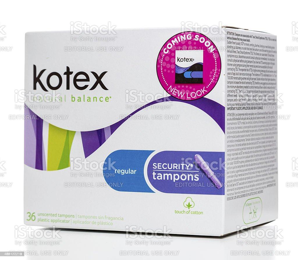 Kotex regular security tampons box stock photo