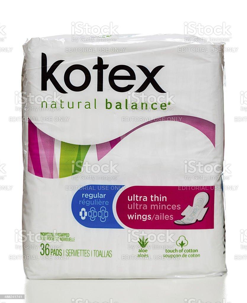 Kotex regular ultra thin wings pads package stock photo