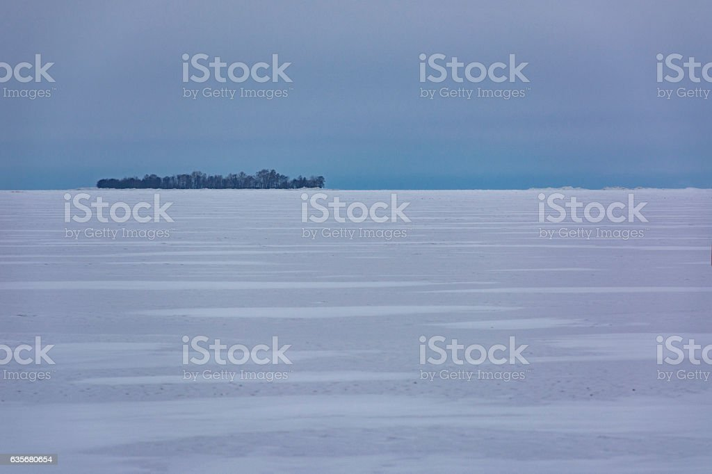 Kotlin island, Kronstadt, Gulf Finland, winter, sea, snow, ice stock photo